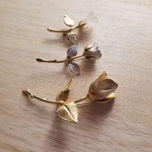 Set of 3 rose pins